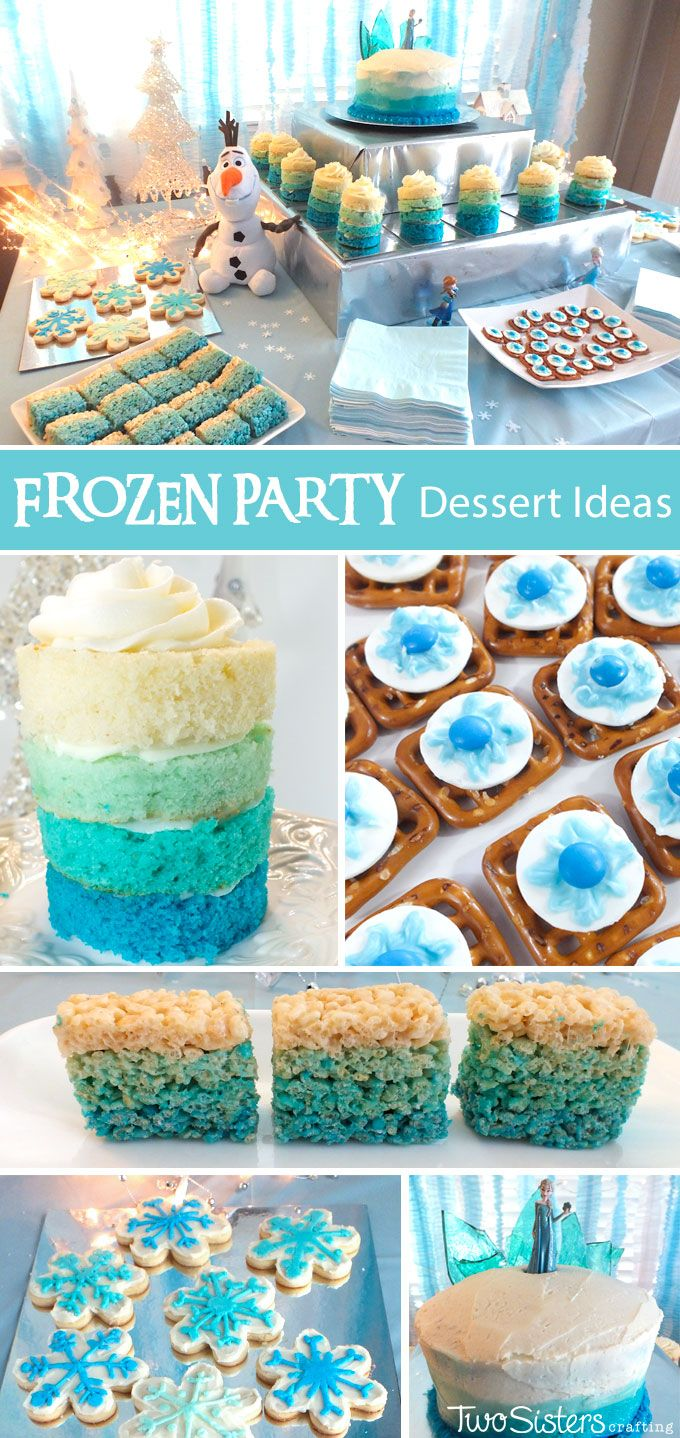 Disney Frozen Dessert Ideas - Our Frozen Dessert Table was both filled with yummy Frozen-themed sweets for our Frozen Birthday Party guests and also a sparkling and spectacular Frozen party decoration. Check out our post for more inspirational Frozen Party Ideas.