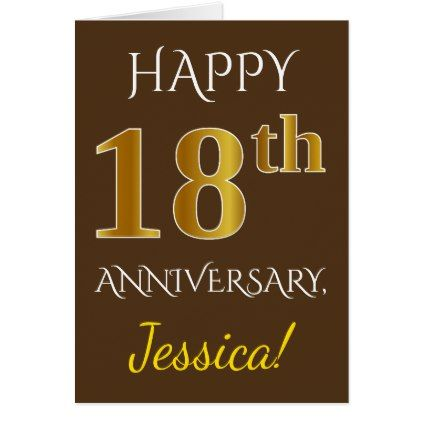 Brown Faux Gold 18th Wedding Anniversary Name Zazzle Com 18th Wedding Anniversary 12th Wedding Anniversary 16th Wedding Anniversary