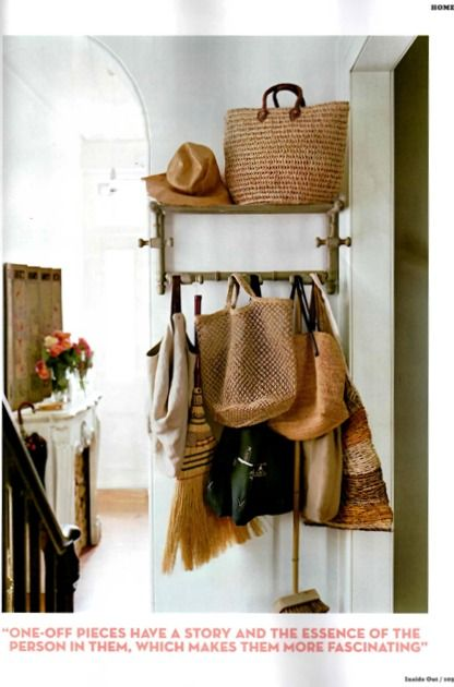 so wanting to create a space like this for storing bags & coats near the entry in my next home ~ home of Linda Gregoriou of Pure & General, photos by Inside Out Magazine