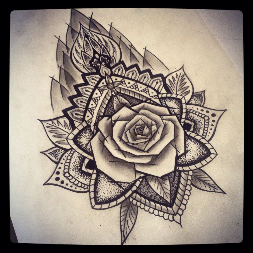 mandala rose ab roses pinterest mandala rose and tattoo. Black Bedroom Furniture Sets. Home Design Ideas