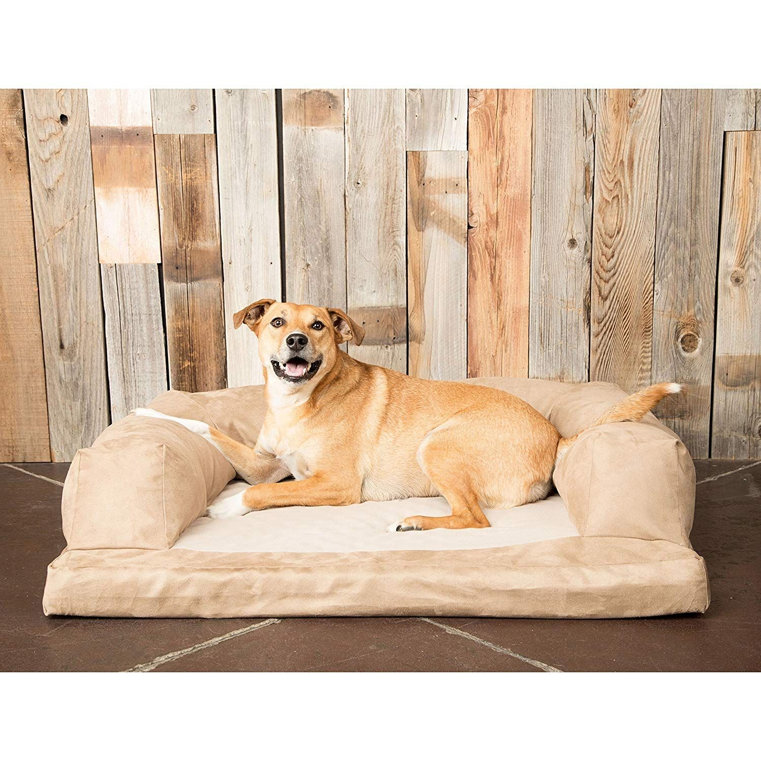 Extra ExtraLarge Tan Plush Solid Pattern Dog Bed