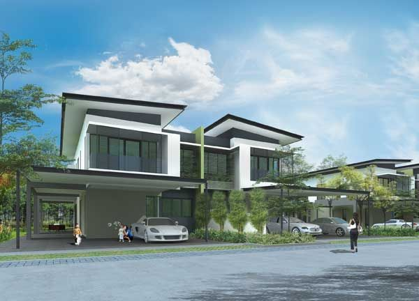 Modern design double storey terrace houses for Double storey beach house designs