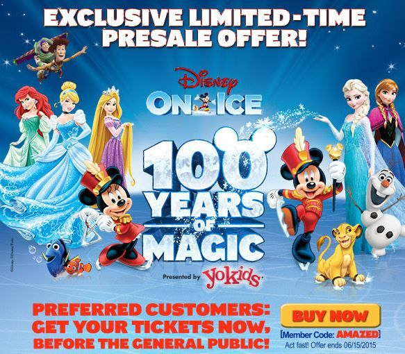 Disney on Ice 100 Years of Magic PRESALE CODE - use this code to make an advanced purchase of 2015-2016 Disney on Ice tickets.  This tour is coming to select US cities.