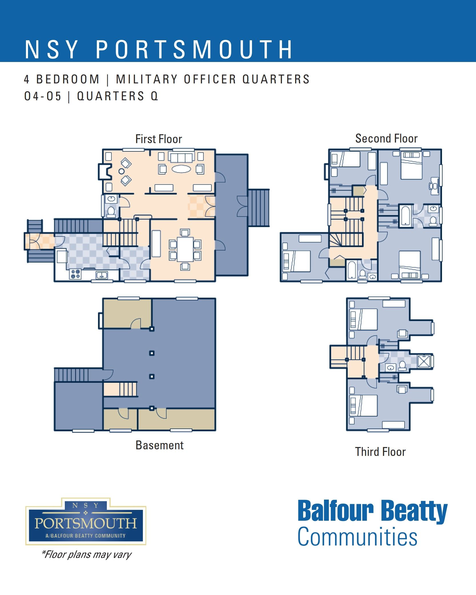 NSY Portsmouth – Military Officers Housing: 4 bedroom floor