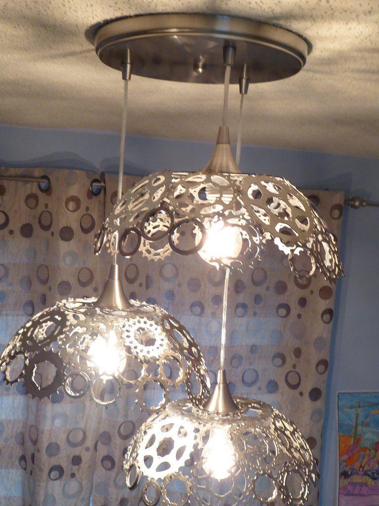 Triple Bicycle Gears Lamp Handmade Lamps Paper Light Custom
