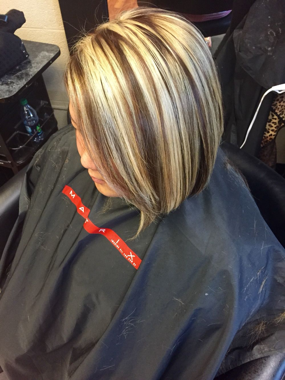 Blonde Chunky Highlight With A Mocha Brown Base On Short