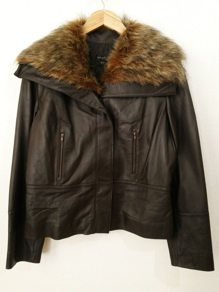649655dd81 Bagatelle Women's Leather Jacket with Faux Fur Collar Cafe - Racer Moto  Style Coat/Blazer - Size 14 #BagatelleLeather  #CafeRacerMotorcycleStyleJacket