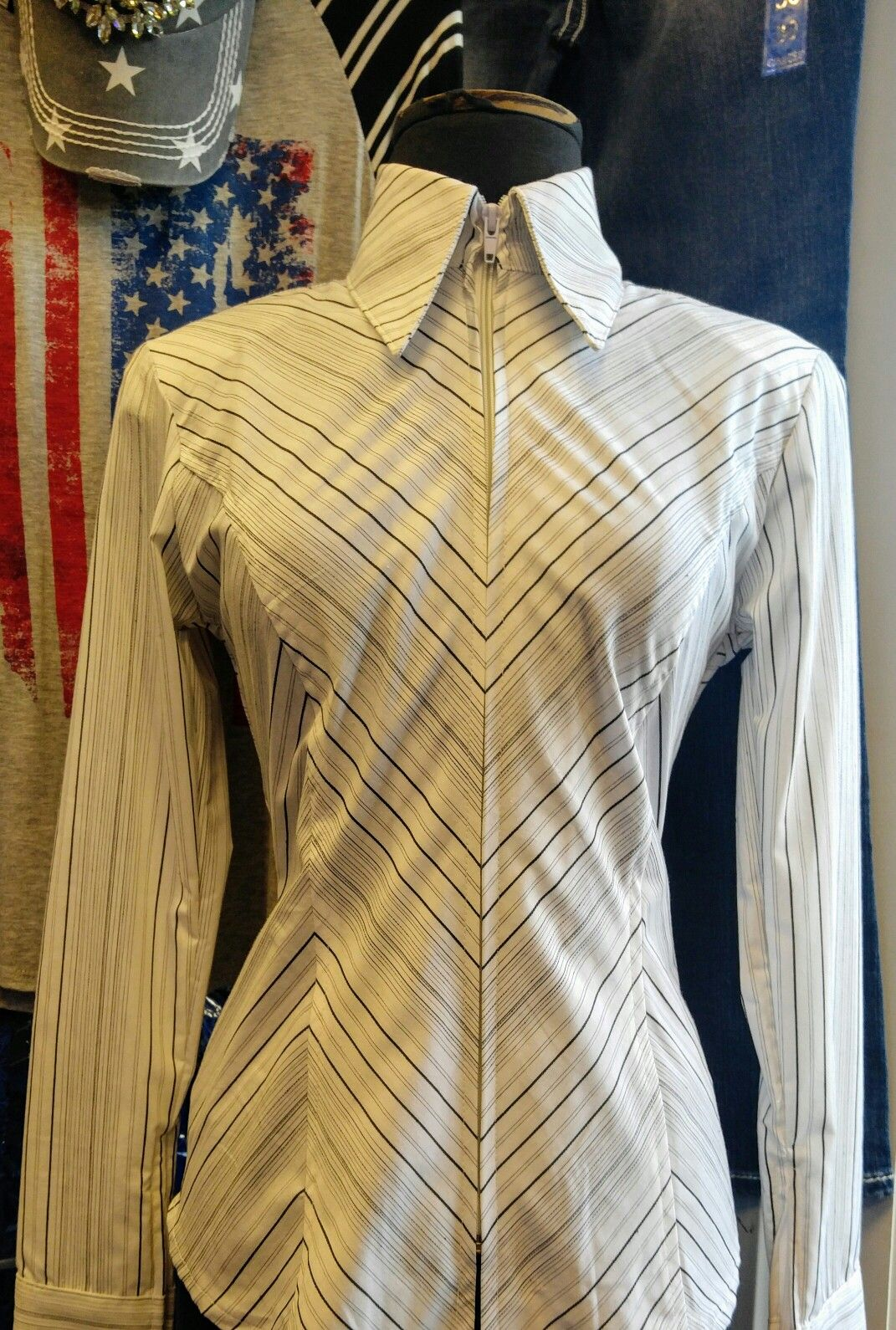 Show Diva Designs white and black pinstripe plain fitted shirt in