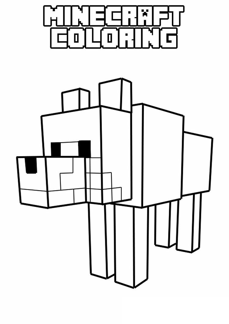 minecraft coloring pages dog  Minecraft printables, Minecraft