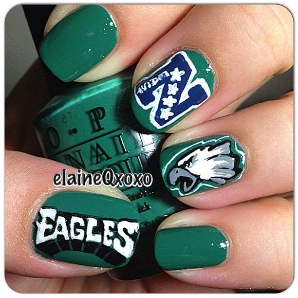 Philadelphia Eagles nails! Requested by @nailsandtrees \