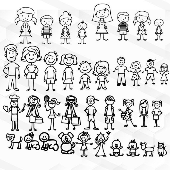 Stick Family Svg Stick People Svg Family Svg Stick Figure Etsy Monigotes Dibujos Dibujos De Personas
