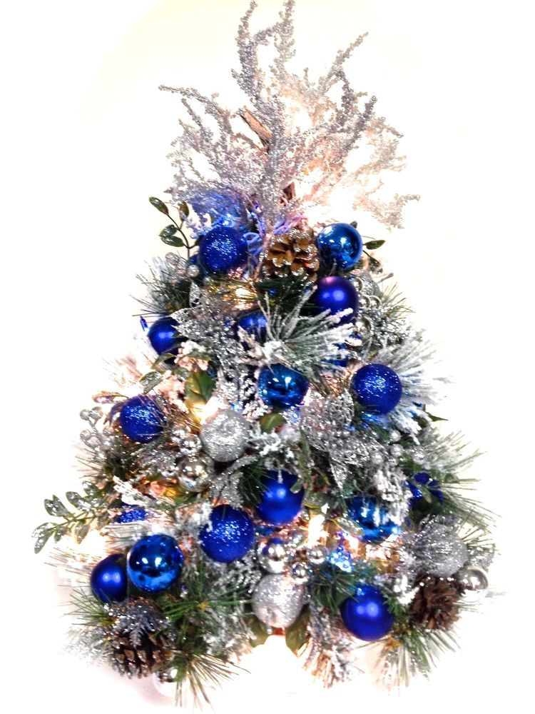 blue silver ice flocked tabletop tree christmas prelit whiteblue lights 22