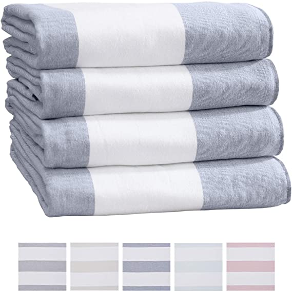 Amazon Com Great Bay Home 4 Pack Of Beach Towels Wide Stripe 100 Combed Cotton Large Pool Towels Cabana Bea Beach Towel Striped Beach Towel Beach Towel Set