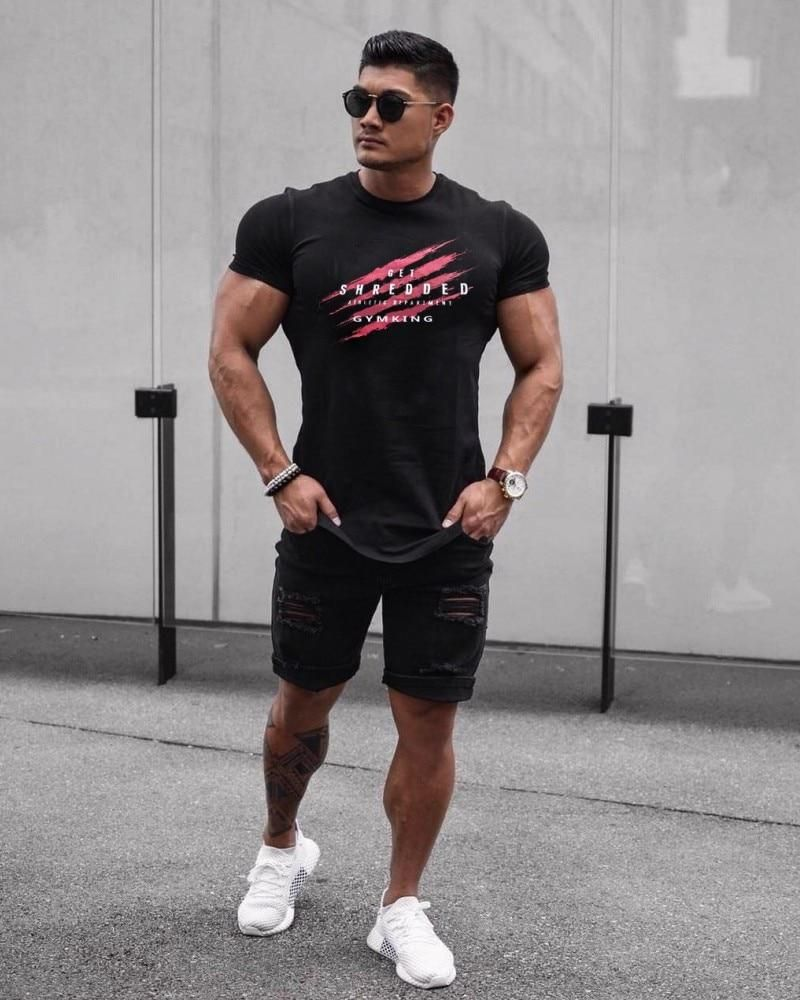 Men Cotton Gym Bodybuilding Tops  Workout Clothes Short Sleeve Casual T-Shirt