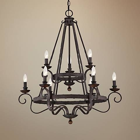 Quoizel noble 32 wide rustic black chandelier