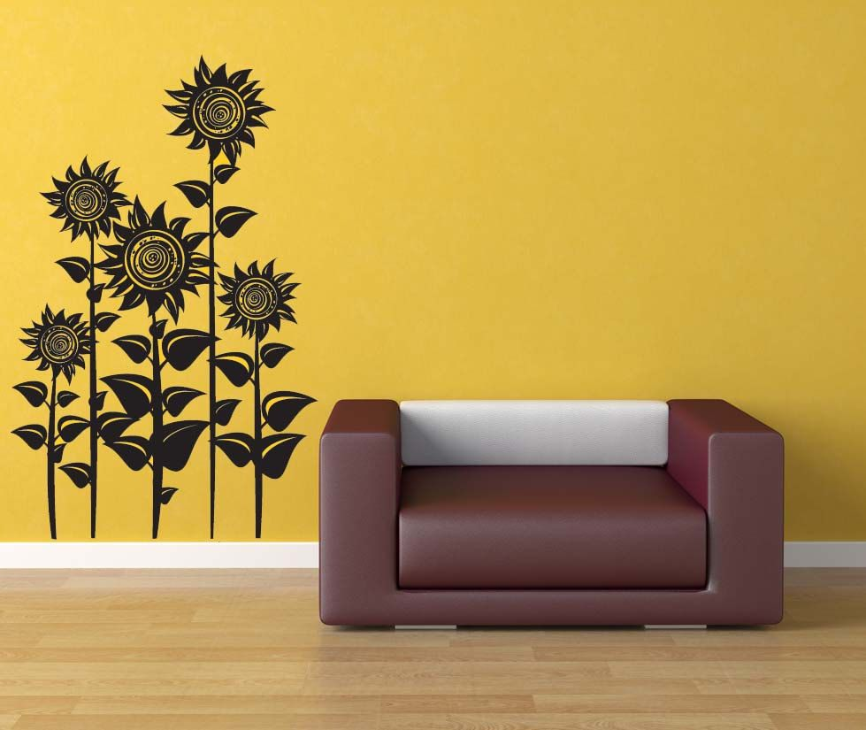 Sunflower Decor, Sunflowers, Floral Wall Decal, Flower