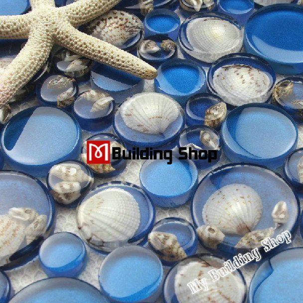 3D glass wall tile backsplash resin shell mosaic RNMT059 blue glass