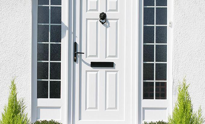 Full Panel Upvc Entrance Door In White With Side Panels Front Door