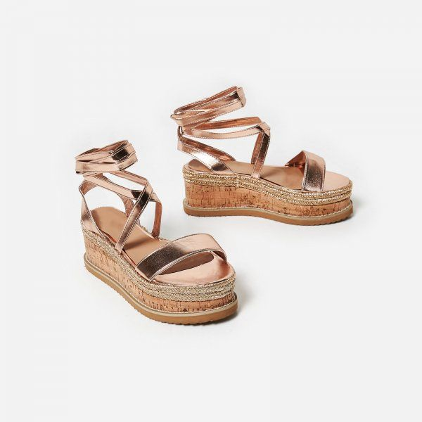 7df42d131b71 Abigail Strappy Espadrille Flatform In Rose Gold Faux Leather. Available in  sizes UK 3-8