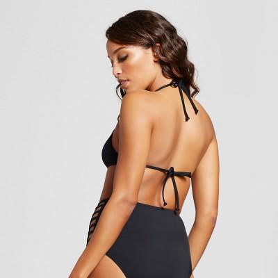 c8e00e98cb30b Women s Strappy High Neck Halter Bikini Top - Black - XL - Mossimo ...