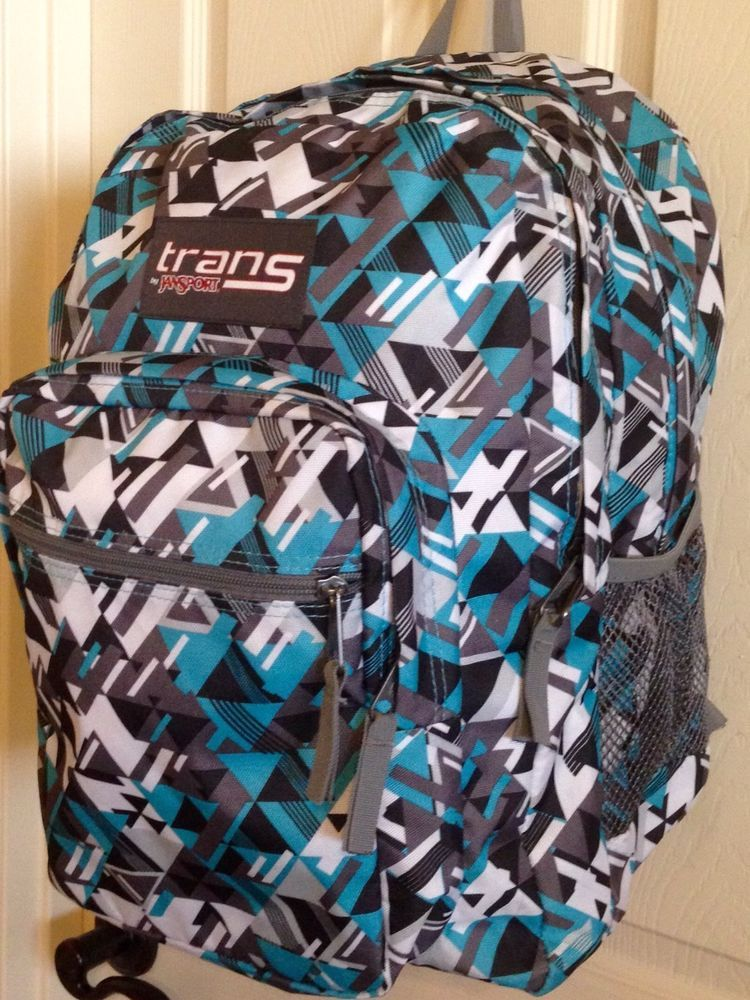 Trans by Jansport Large Geometric Backpack Turquoise Grey Bookbag Gray Book  Bag  JanSport  Backpack  BTS 3d6f0164c8117