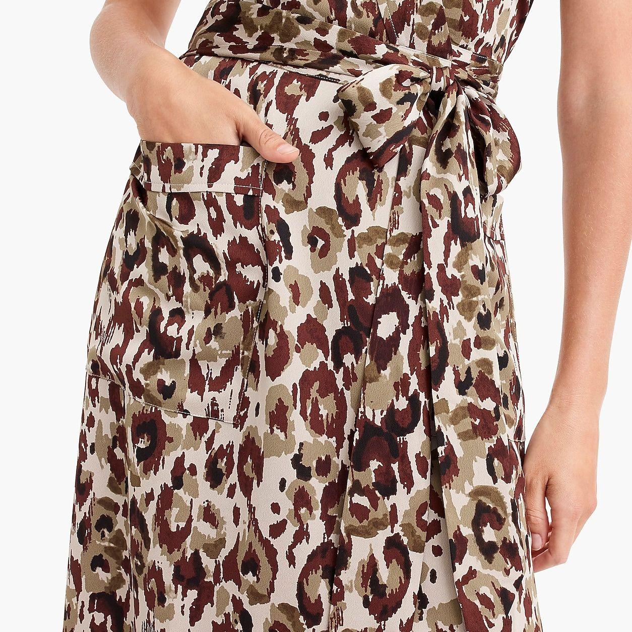 adbf1cf85048 Short-Sleeve Wrap Dress In Leopard Satin-Back Crepe | Products ...