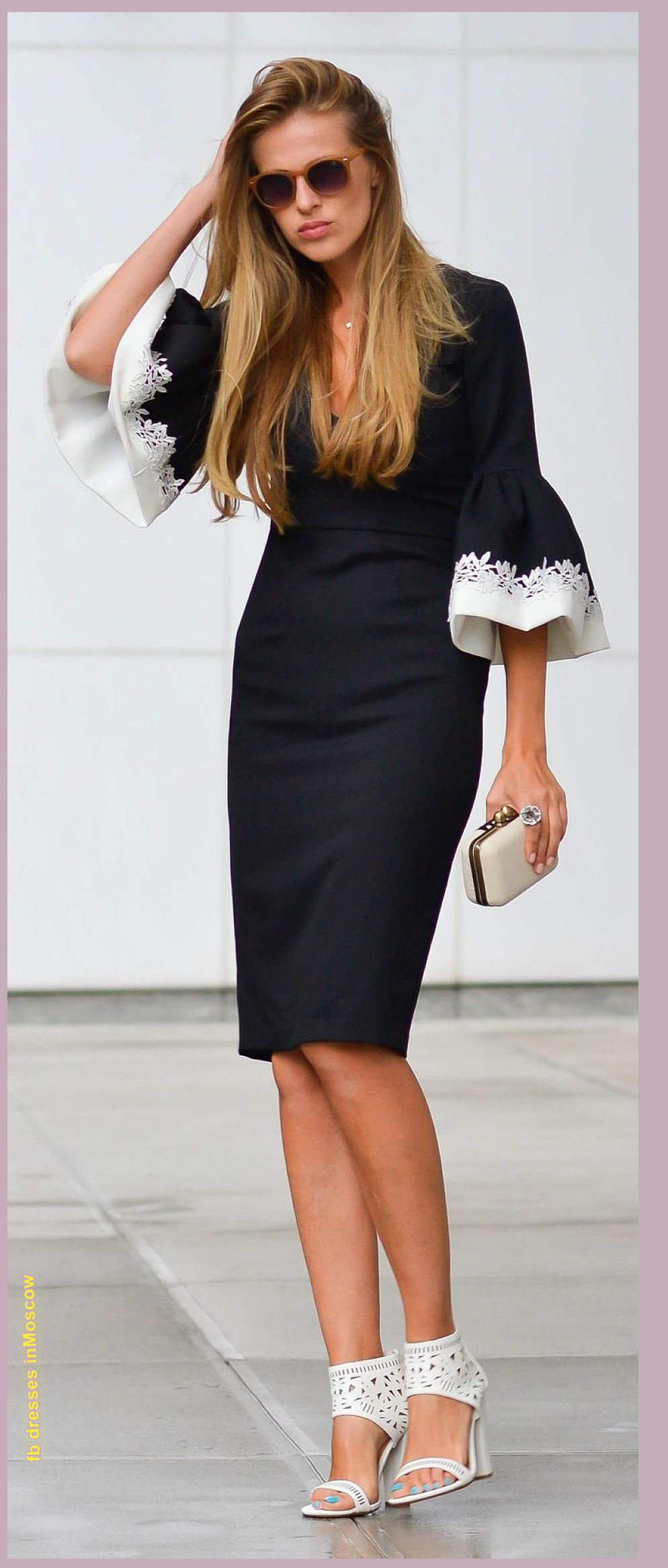 armani black knee length dress trendy bell sleeves with stark white floral embroidery timeless. Black Bedroom Furniture Sets. Home Design Ideas