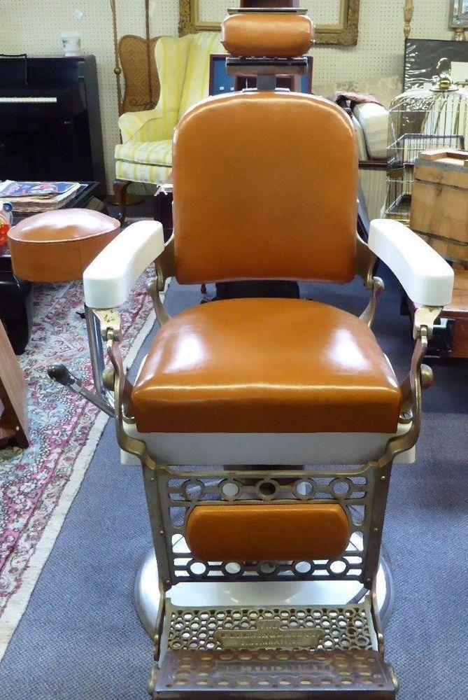 E BERNINGHAUS Hydraulic HERCULES BARBER CHAIR wAttached Barber – Hercules Barber Chair
