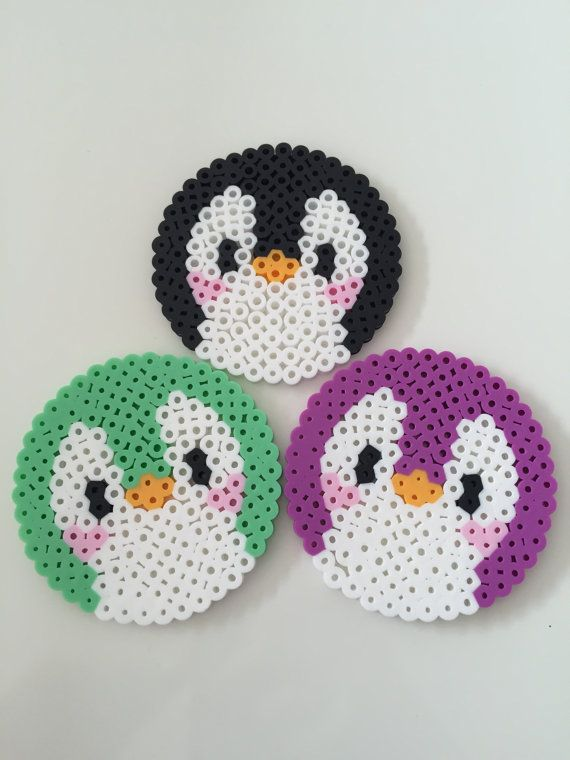 Cute Penguin Perler Bead Coasters, Set of 3 #mugsset