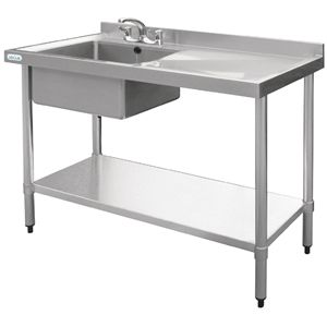 Stainless Steel Sink Supplied With Stand, Shelf And Waste.
