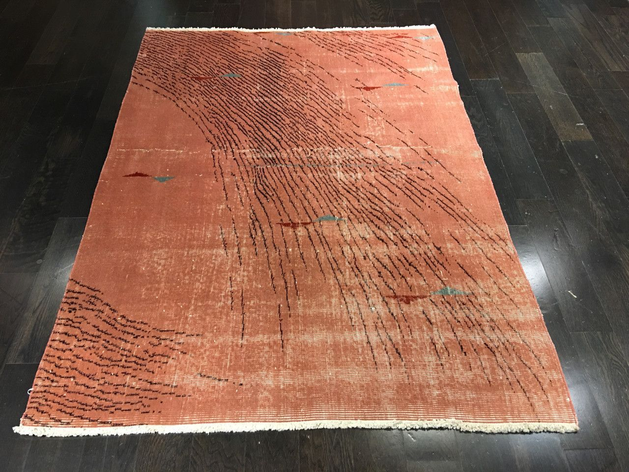 """Cranbury"" 4'5""x6'1"" Vintage Turkish Area Rug Designed by Zeki Muren"