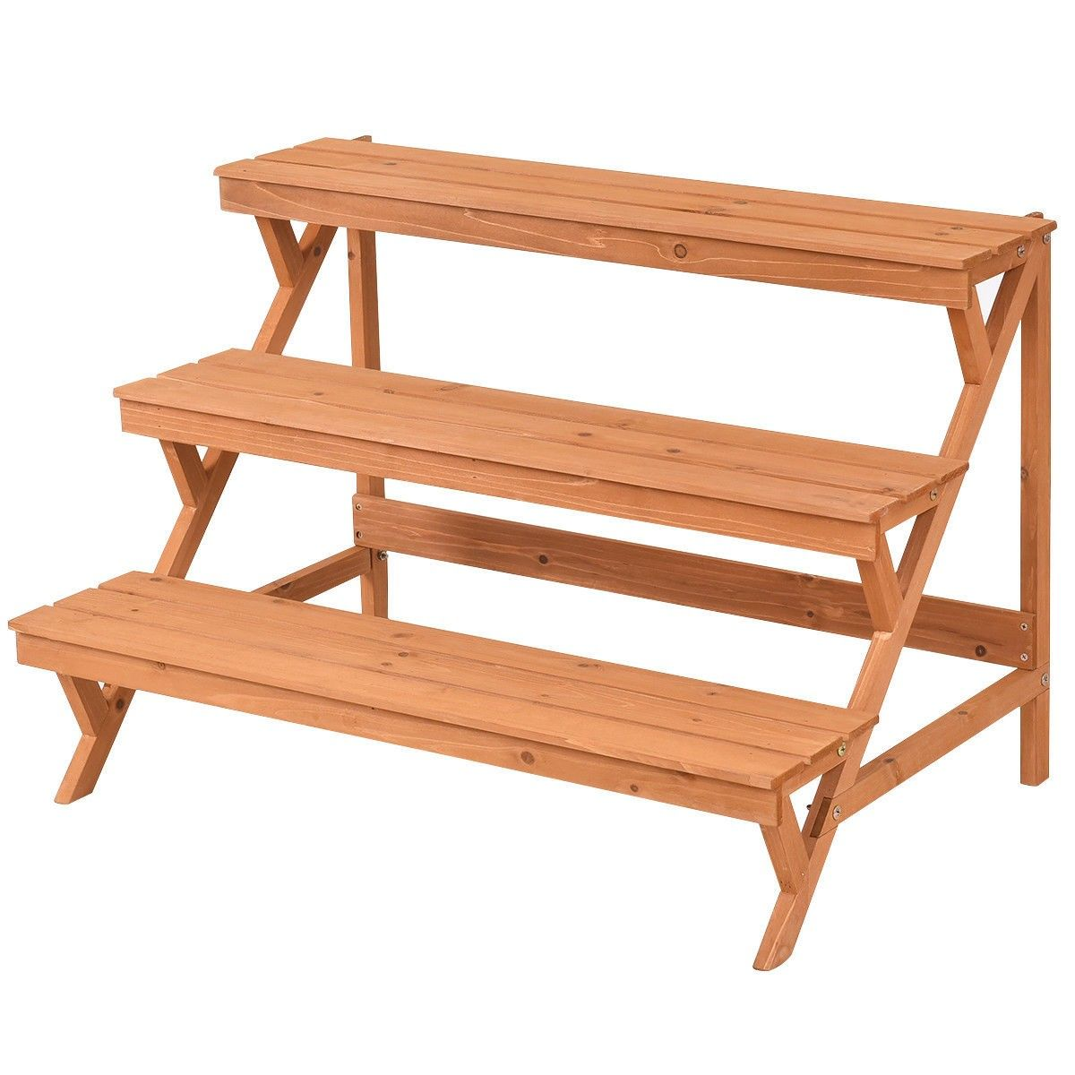 3 Tiers Wooden Step Ladder Plant Pot Rack Stand Wood Plant Stand Wooden Steps Wood Steps