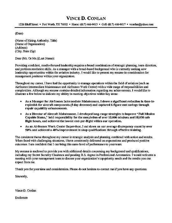 Aviation Cover Letter Example | Cover letter example, Letter example ...