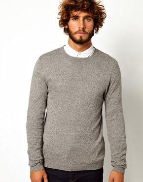 f4ff3f1e5fa103 ASOS Crew Neck Jumper in Cotton | he. | Mens jumpers, Men sweater ...