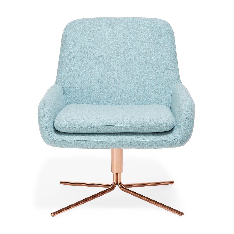 Softline Sky Blue Swivel Square Chair