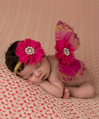 65b37a081 This Hot Pink Glitter Wings & Headband by The Tiny Blessings Boutique is  perfect! #zulilyfinds