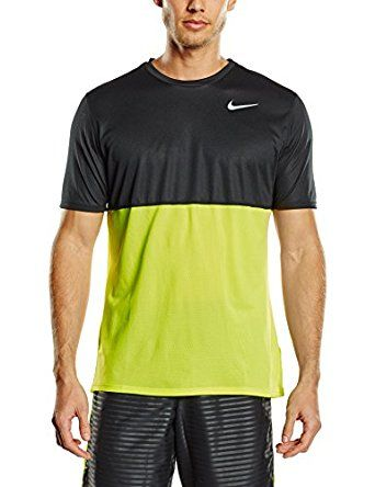 aad1ccf2b70bf Amazon.com: Nike Mens Dri-Fit Dry Short Sleeve Running Shirt, Volt ...