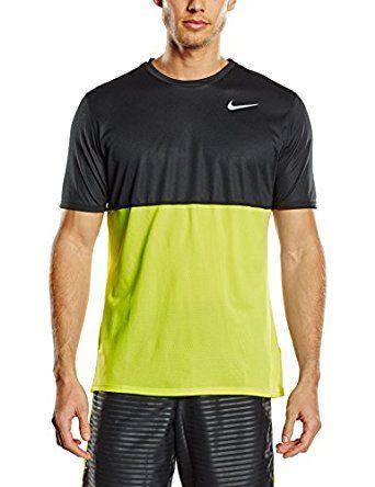 015bc22cf Amazon.com: Nike Mens Dri-Fit Dry Short Sleeve Running Shirt, Volt/Black,  Lrg, 644396 702: Sports & Outdoors