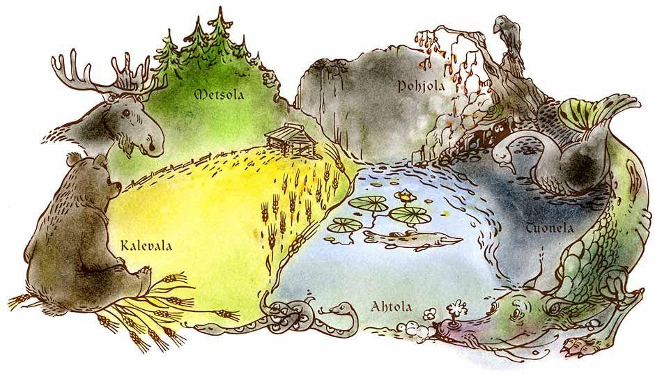 Piirroksessa on kuvattu kaikki Kalevalan seudut: metsäinen Metsola, kylmä Pohjola, synkkä Tuonela, veden valtakunta Ahtola ja viljava Kalevala.
