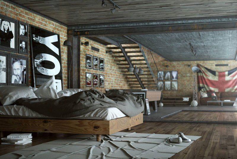 chambre style industriel avec parement en brique et poutrelles