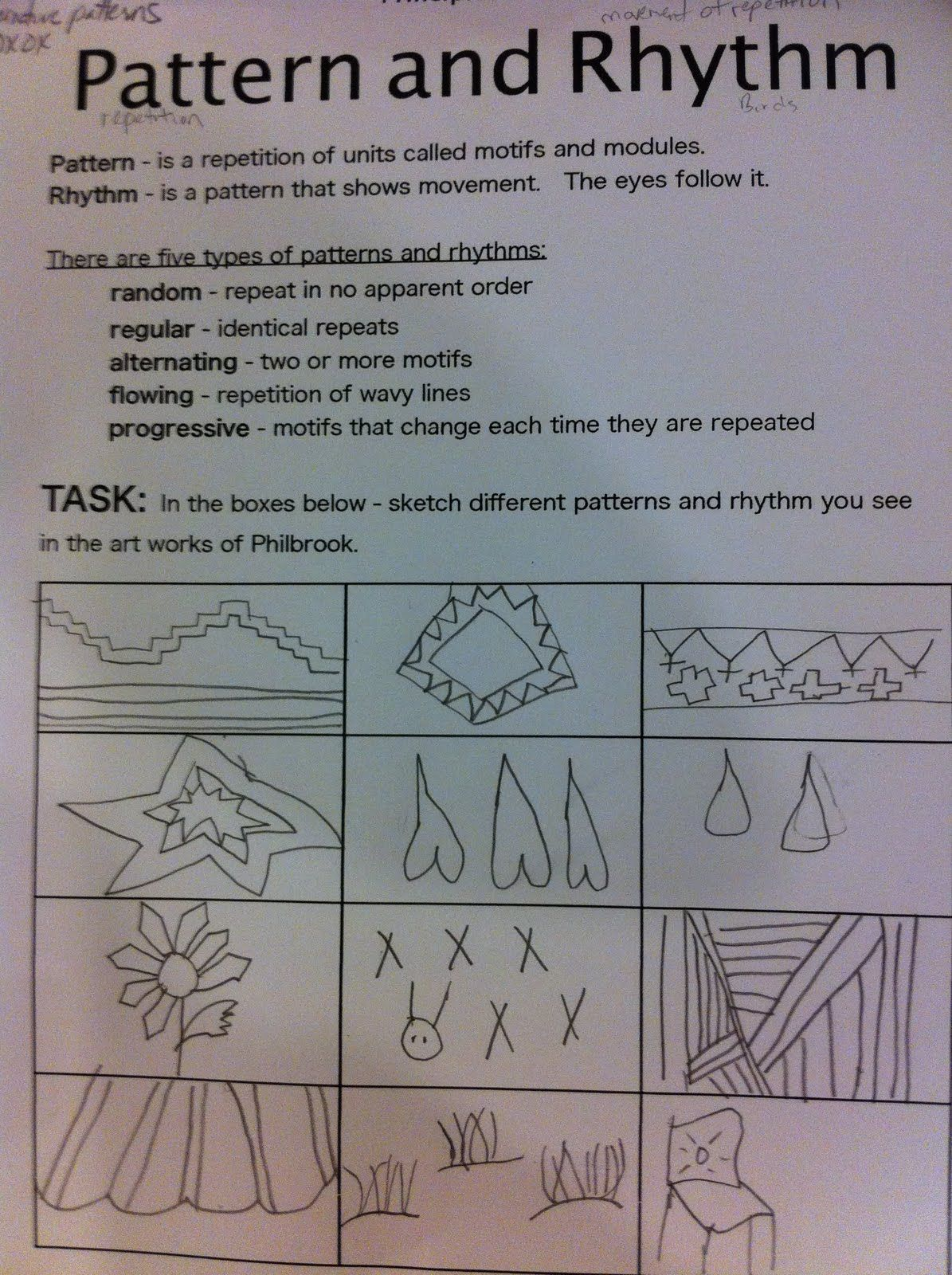 Pattern And Rhythm Worksheet