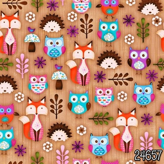 Woodland Critters Cotton Fabric Collection by SPX Fabrics! Happy Foxes, Porcupines  Owls!  Sweet panel also available for a cute and easy baby quilt.