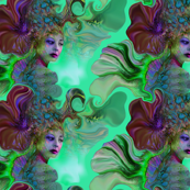 She Glows, custom fabric by la perla, on Spoonflower