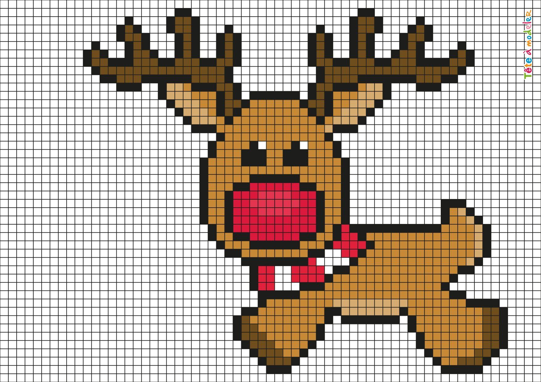 Pixel Art Renne De Noël Par Tête à Modeler Pixel Art Noel
