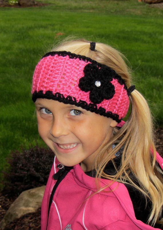 Girls Crochet Hot Pink & Black Ear warmer Headband | Stirnband schal ...