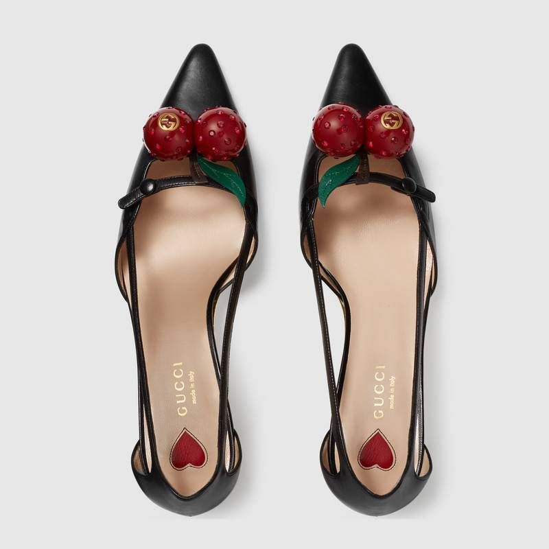 504cb32d8 Gucci Leather cherry pump Detail 3 | ii ay in 2019 | Gucci shoes ...