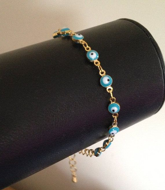 Gold Evil Eye Bracelet Boho Yoga Jewelry UK by BohoYogaJewelry