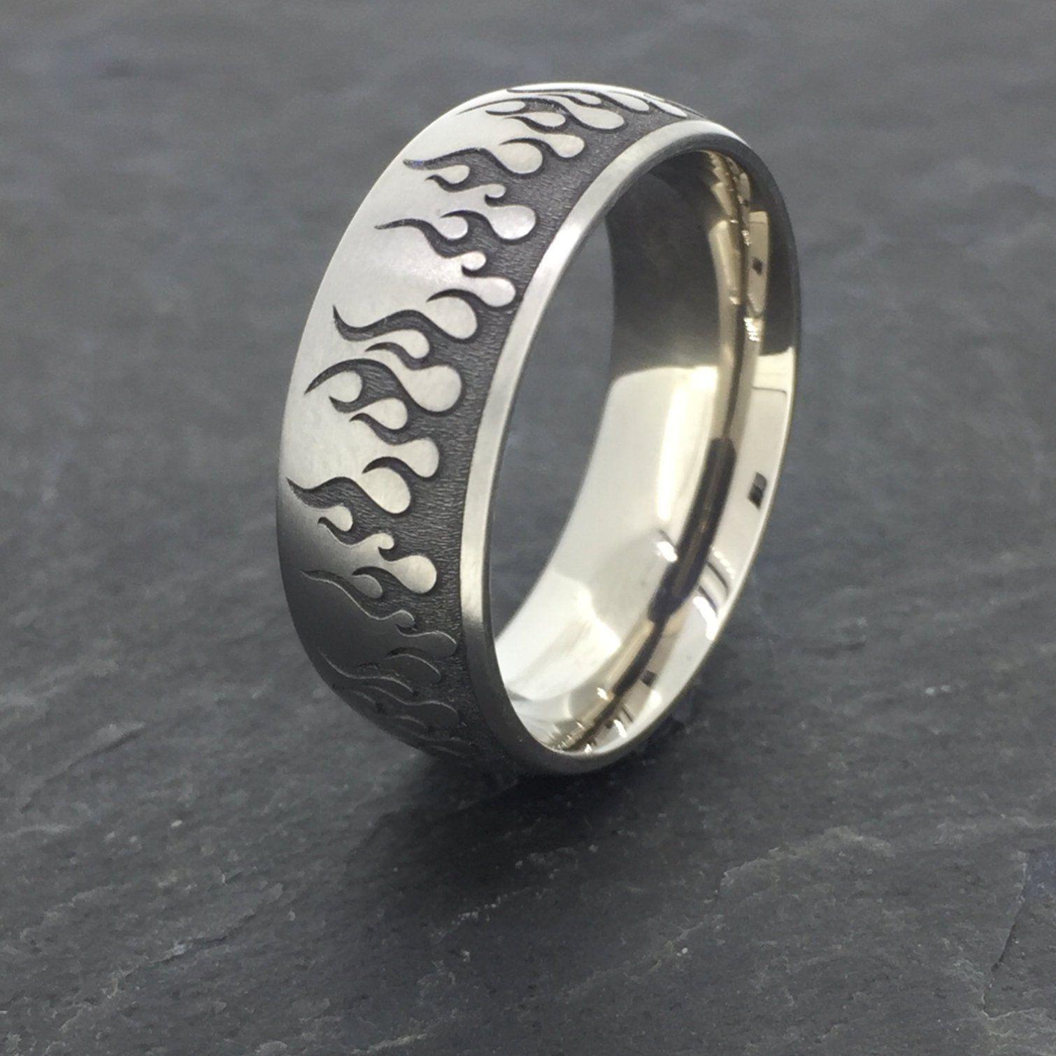 Titanium Ring, Engraved Flames Titanium rings, Rings