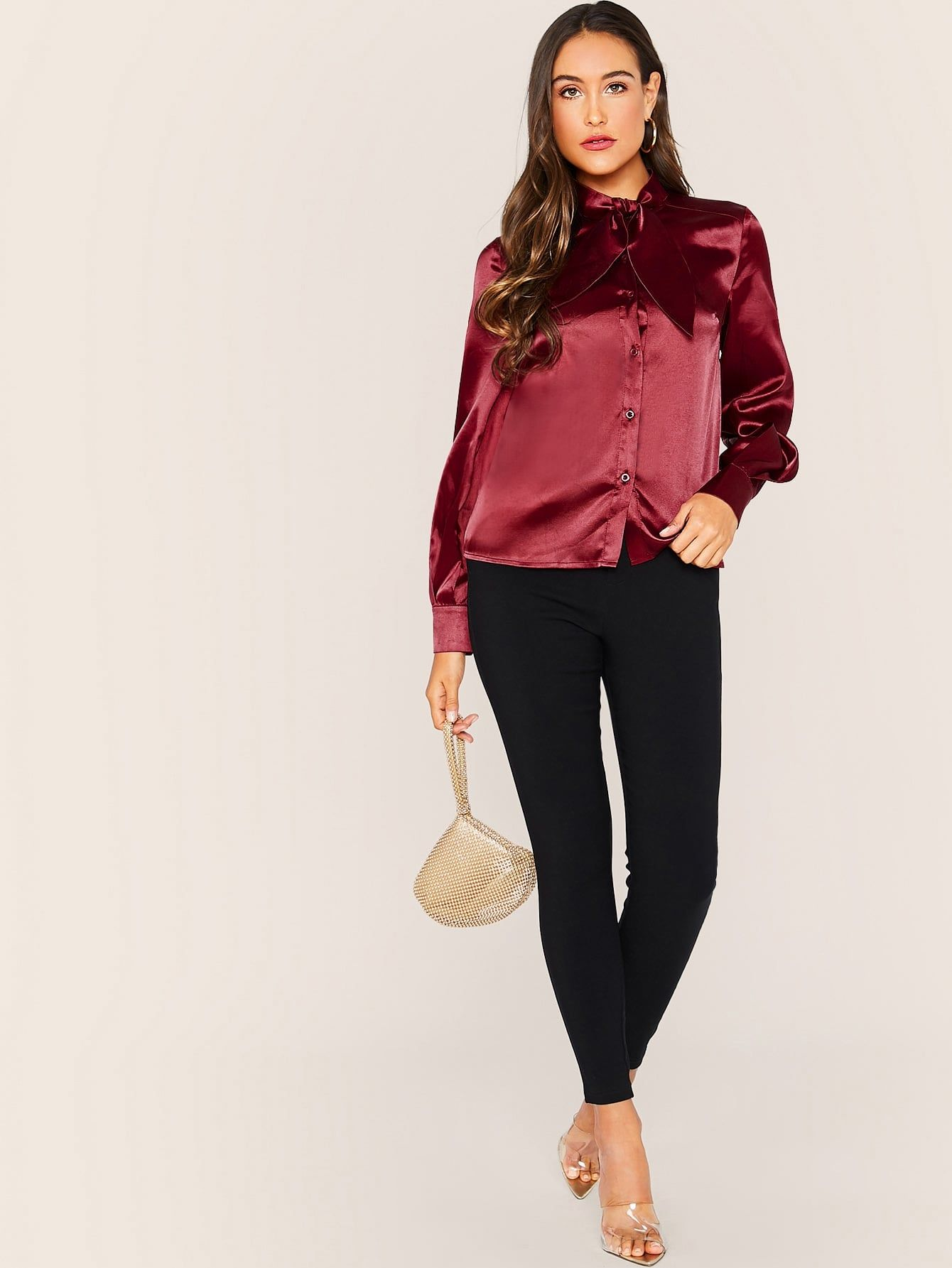Tie Neck Button Front Satin Blouse ,