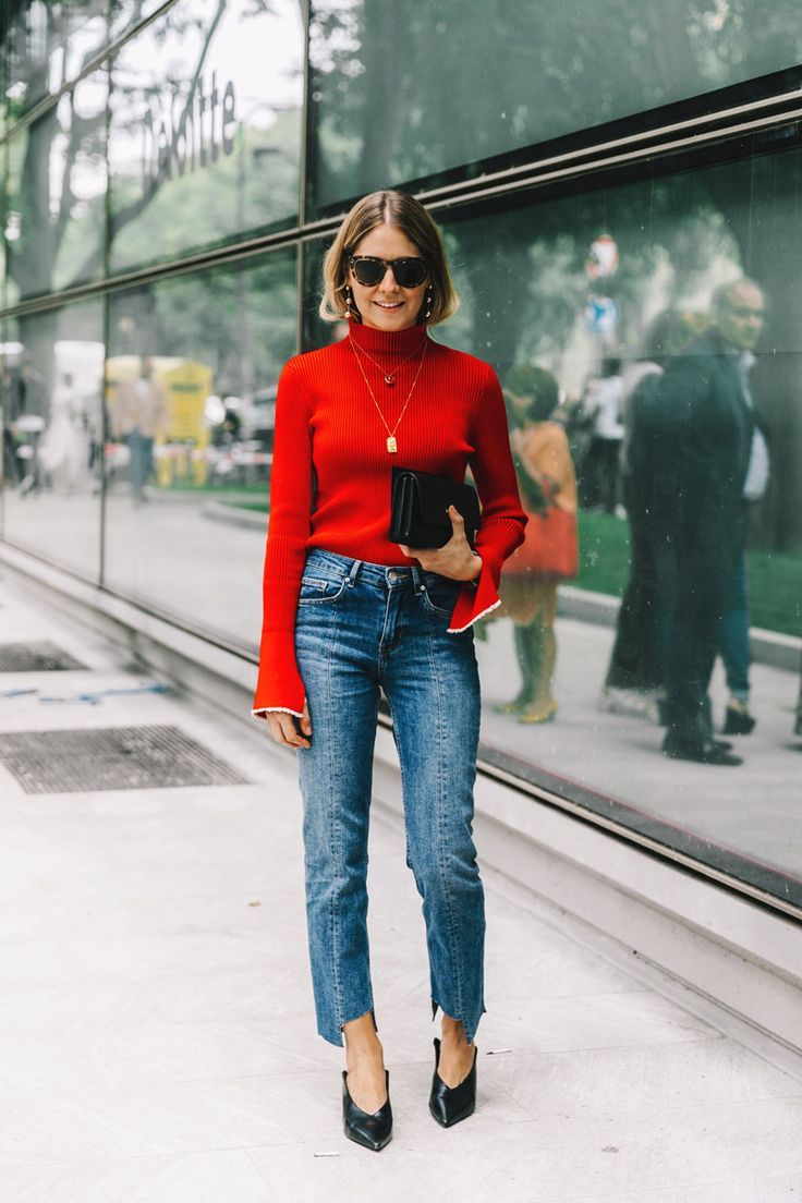 red top pop | Olive Your Style | Pinterest | Street styles, Street ...